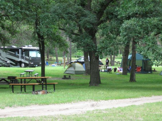 RV and tents at campground