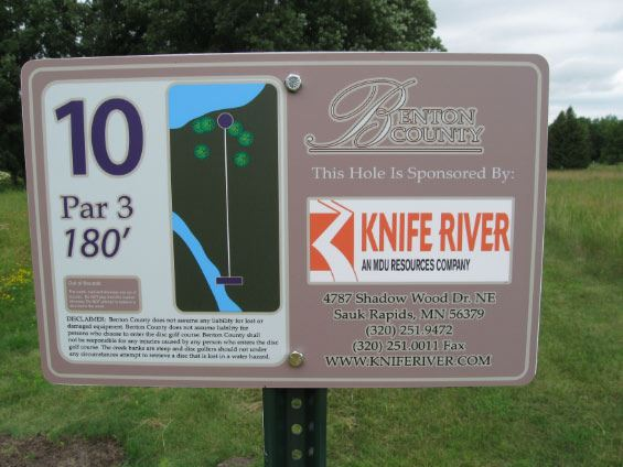 Up close image of hole 10 for disc golf Knife River