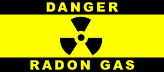 Danger Radon Gas with hazard symbol